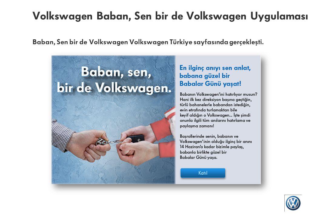 Volkswagen Baban, Sen bir de Volkswagen Uygulaması Baban, Sen bir de Volkswagen – Sayfa üzerinden uygulama duyuruları ve paylaşımları gerçekleştirildi.