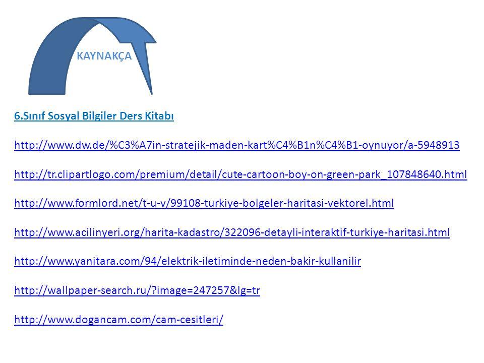 6.Sınıf Sosyal Bilgiler Ders Kitabı http://www.dw.de/%C3%A7in-stratejik-maden-kart%C4%B1n%C4%B1-oynuyor/a-5948913 http://www.dw.de/%C3%A7in-stratejik-
