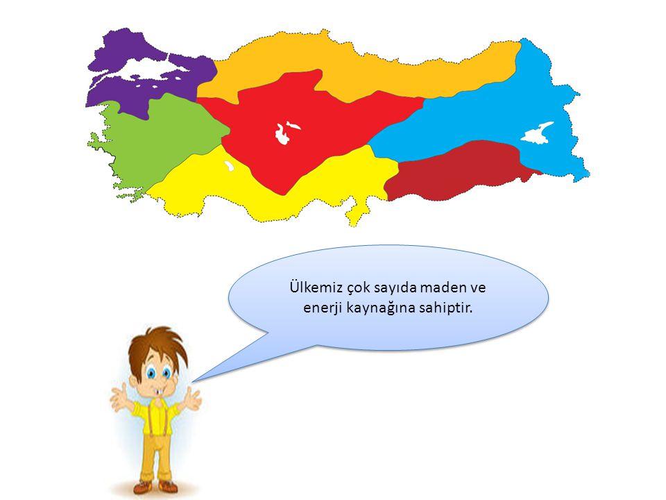Ülkemiz çok sayıda maden ve enerji kaynağına sahiptir.