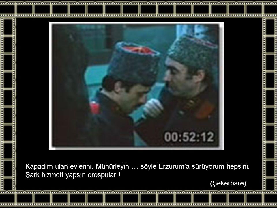 Kapadım ulan evlerini. Mühürleyin … söyle Erzurum'a sürüyorum hepsini. Şark hizmeti yapsın orospular ! (Şekerpare)