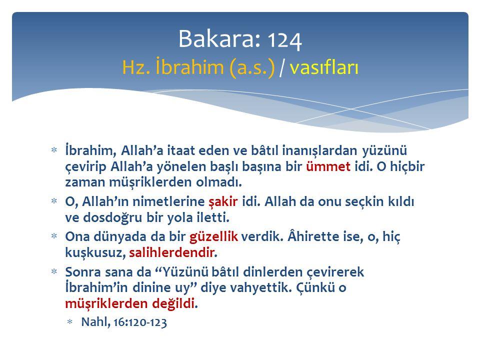  İbrahim, Allah'a itaat eden ve bâtıl inanışlardan yüzünü çevirip Allah'a yönelen başlı başına bir ümmet idi.