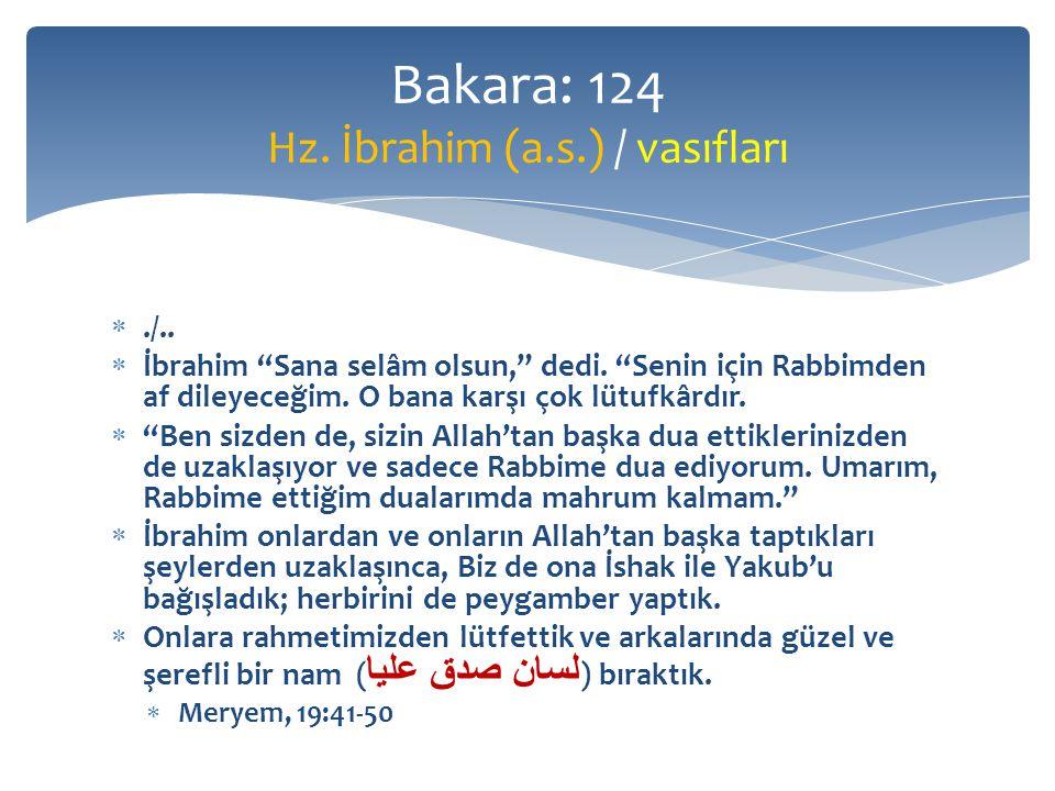 ./.. İbrahim Sana selâm olsun, dedi. Senin için Rabbimden af dileyeceğim.