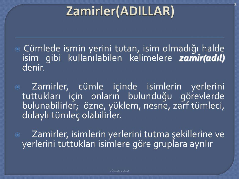 Konu: Zamirler(ADILLAR)