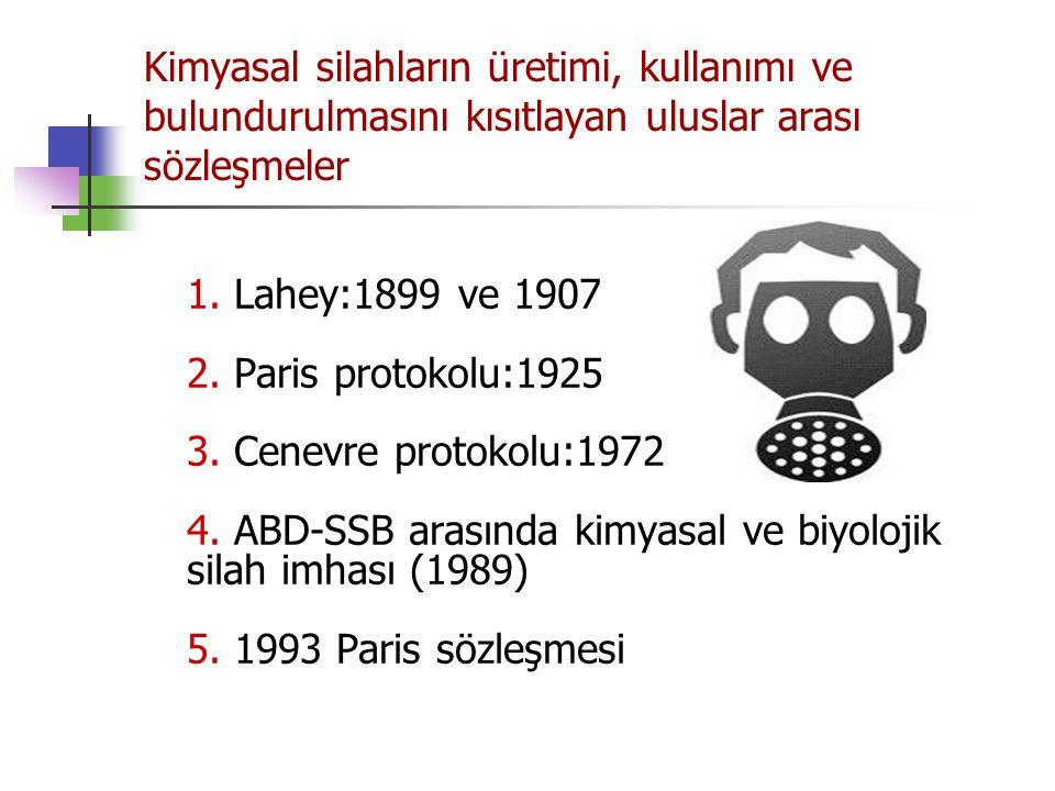 Kimyasal silahların üretimi, kullanımı ve bulundurulmasını kısıtlayan uluslar arası sözleşmeler 1. Lahey:1899 ve 1907 2. Paris protokolu:1925 3. Cenev