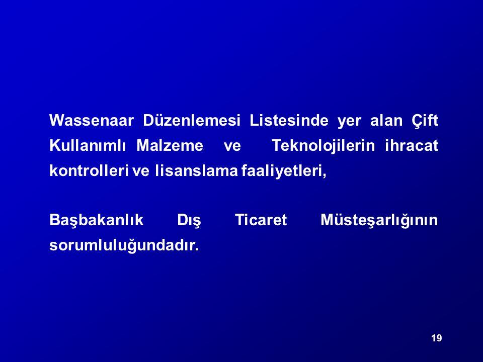 19 Wassenaar Düzenlemesi Listesinde yer alan Çift Kullanımlı Malzeme ve Teknolojilerin ihracat kontrolleri ve lisanslama faaliyetleri, Başbakanlık Dış
