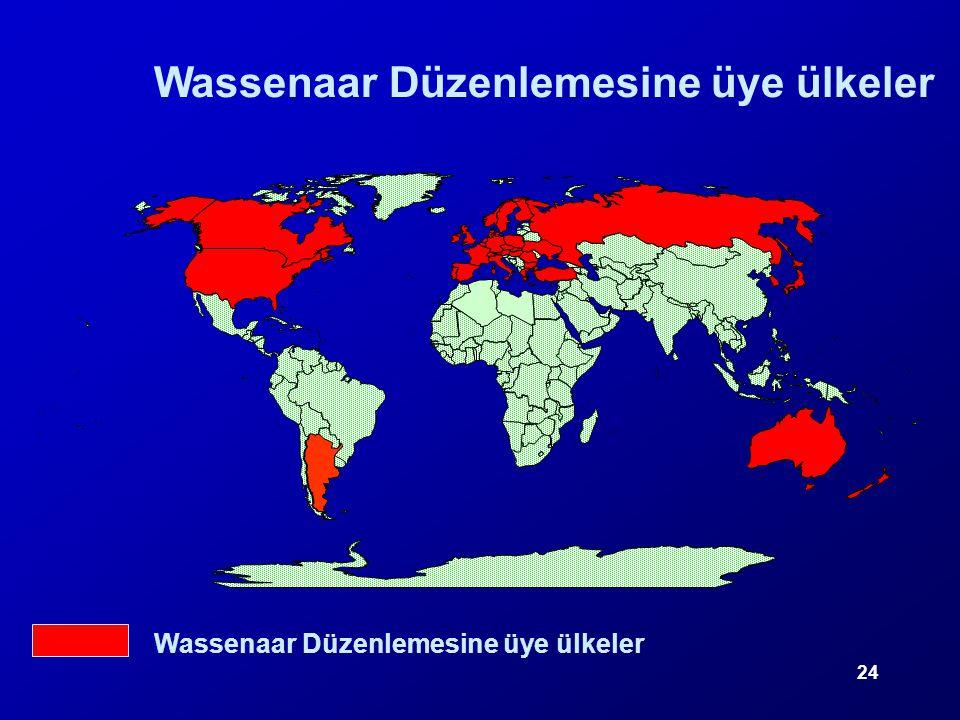 24 Wassenaar Düzenlemesine üye ülkeler