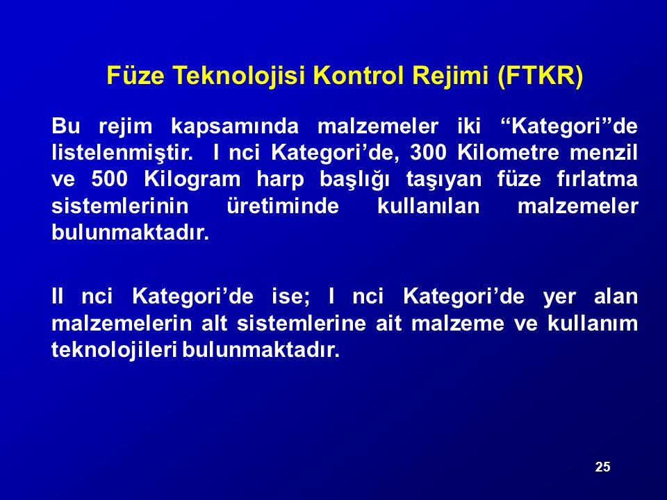 """25 Füze Teknolojisi Kontrol Rejimi (FTKR) Bu rejim kapsamında malzemeler iki """"Kategori""""de listelenmiştir. I nci Kategori'de, 300 Kilometre menzil ve 5"""