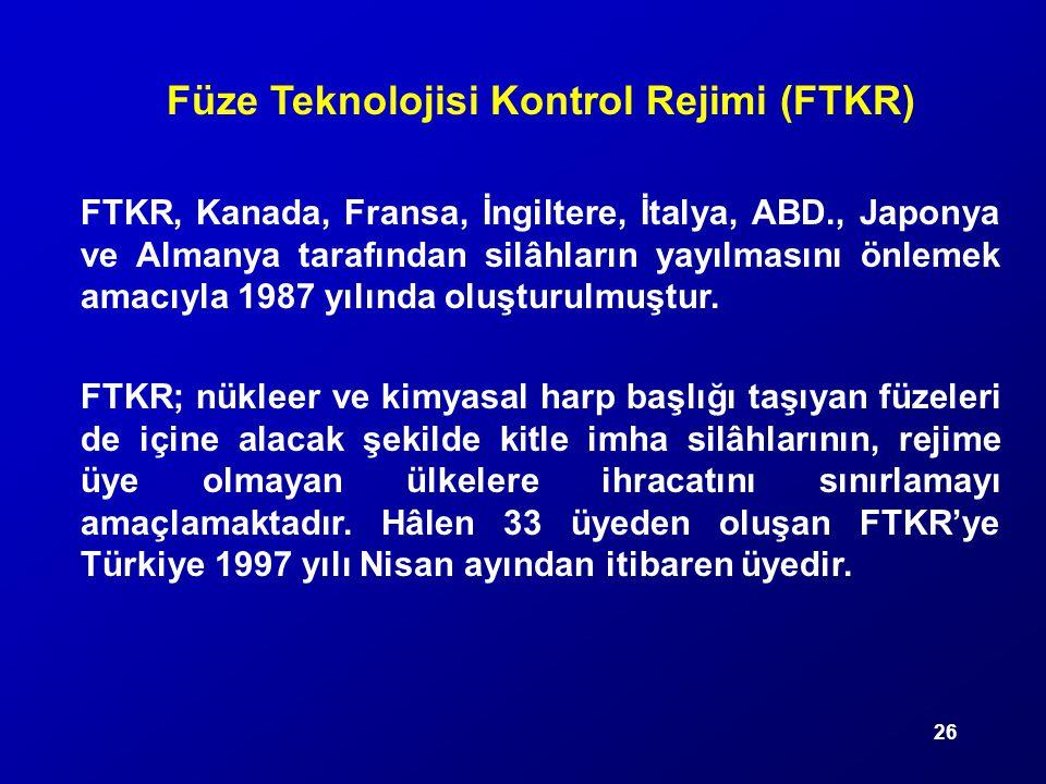 26 Füze Teknolojisi Kontrol Rejimi (FTKR) FTKR, Kanada, Fransa, İngiltere, İtalya, ABD., Japonya ve Almanya tarafından silâhların yayılmasını önlemek