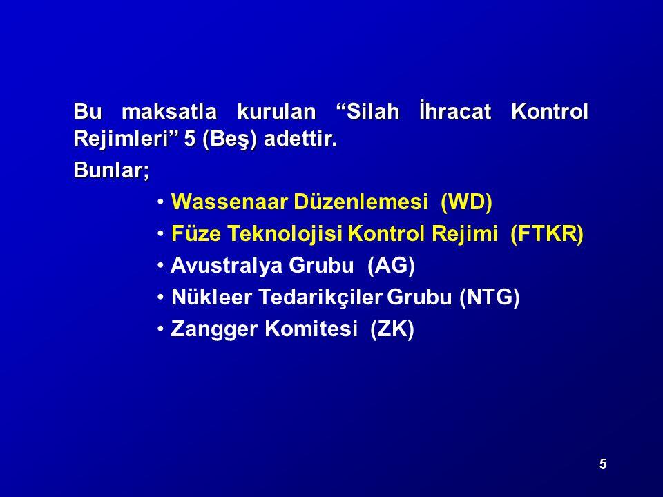 """5 Bu maksatla kurulan """"Silah İhracat Kontrol Rejimleri"""" 5 (Beş) adettir. Bunlar; Wassenaar Düzenlemesi (WD) Füze Teknolojisi Kontrol Rejimi (FTKR) Avu"""
