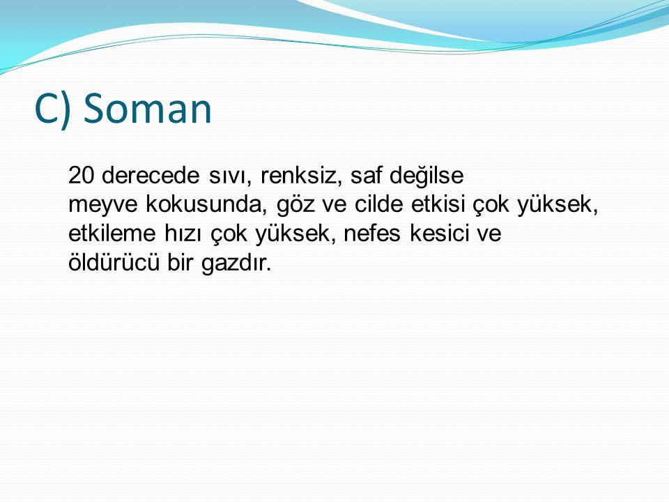 C) Soman 20 derecede sıvı, renksiz, saf değilse meyve kokusunda, göz ve cilde etkisi çok yüksek, etkileme hızı çok yüksek, nefes kesici ve öldürücü bi