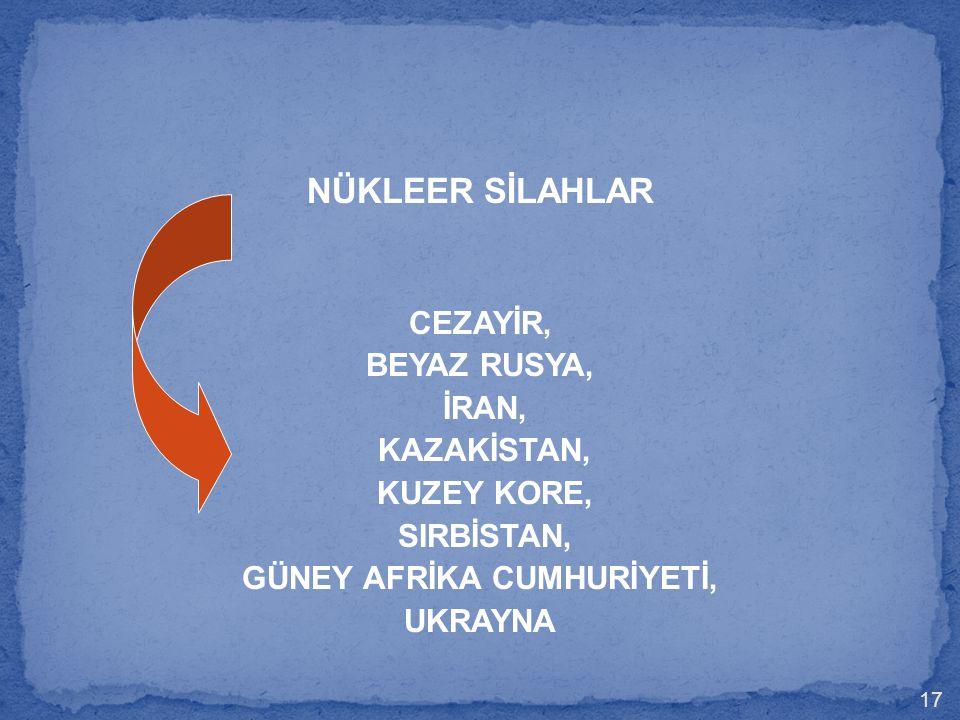 NÜKLEER SİLAHLAR CEZAYİR, BEYAZ RUSYA, İRAN, KAZAKİSTAN, KUZEY KORE, SIRBİSTAN, GÜNEY AFRİKA CUMHURİYETİ, UKRAYNA 17