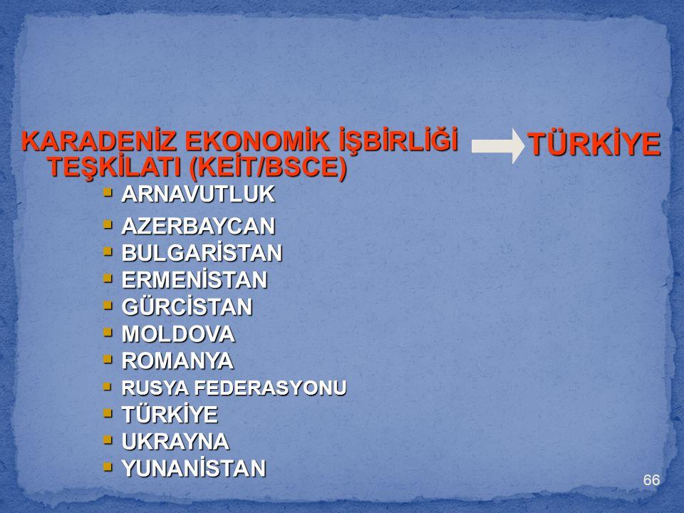 66  ARNAVUTLUK  AZERBAYCAN  GÜRCİSTAN  MOLDOVA  ROMANYA  BULGARİSTAN  ERMENİSTAN  RUSYA FEDERASYONU  TÜRKİYE  UKRAYNA TÜRKİYE KARADENİZ EKON