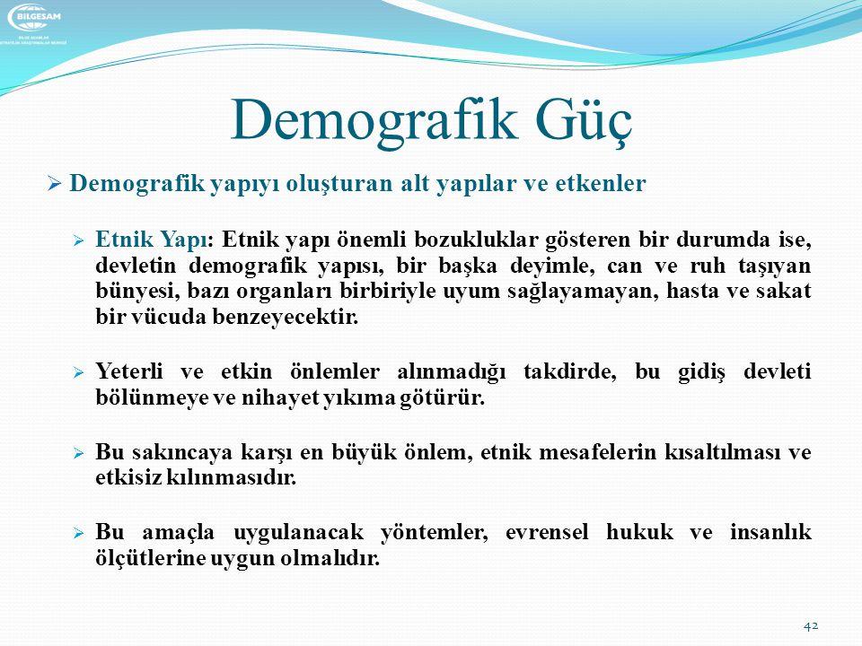 Demografik Güç  Demografik yapıyı oluşturan alt yapılar ve etkenler  Etnik Yapı: Etnik yapı önemli bozukluklar gösteren bir durumda ise, devletin de