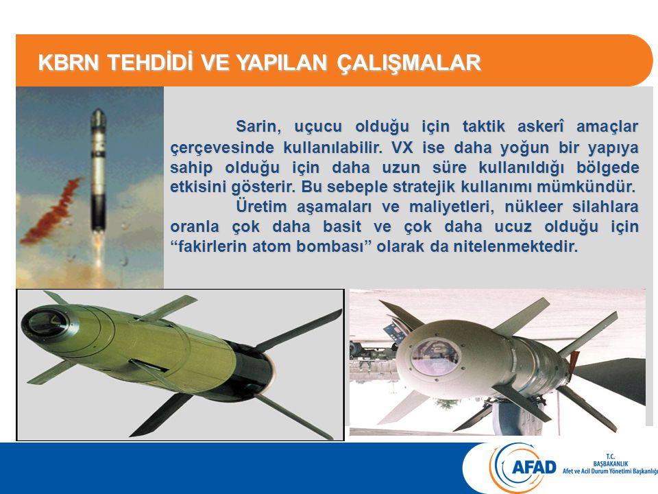 Sarin, uçucu olduğu için taktik askerî amaçlar çerçevesinde kullanılabilir.