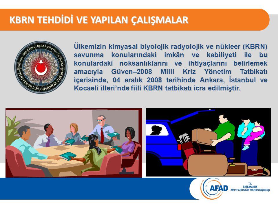 KBRN TEHDİDİ VE YAPILAN ÇALIŞMALAR Ülkemizin kimyasal biyolojik radyolojik ve nükleer (KBRN) savunma konularındaki imkân ve kabiliyeti ile bu konulardaki noksanlıklarını ve ihtiyaçlarını belirlemek amacıyla Güven–2008 Milli Kriz Yönetim Tatbikatı içerisinde, 04 aralık 2008 tarihinde Ankara, İstanbul ve Kocaeli illeri'nde fiili KBRN tatbikatı icra edilmiştir.