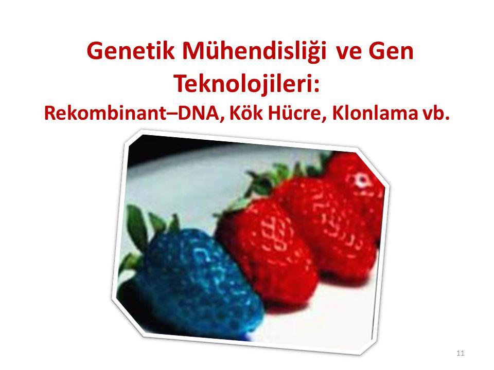 Genetik Mühendisliği ve Gen Teknolojileri: Rekombinant–DNA, Kök Hücre, Klonlama vb. 11
