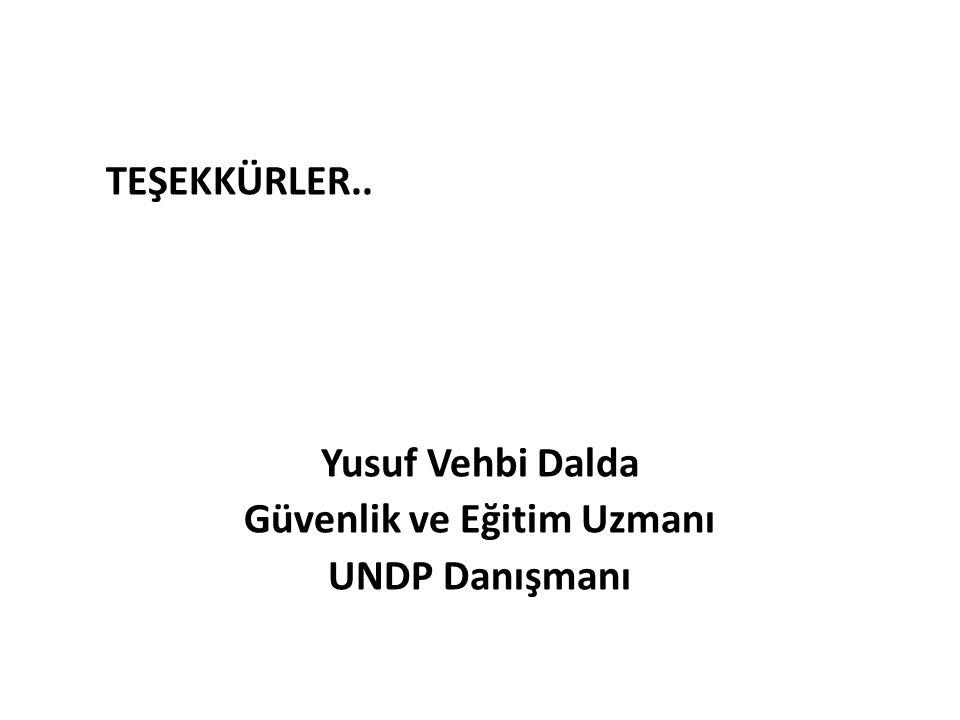 TEŞEKKÜRLER.. Yusuf Vehbi Dalda Güvenlik ve Eğitim Uzmanı UNDP Danışmanı