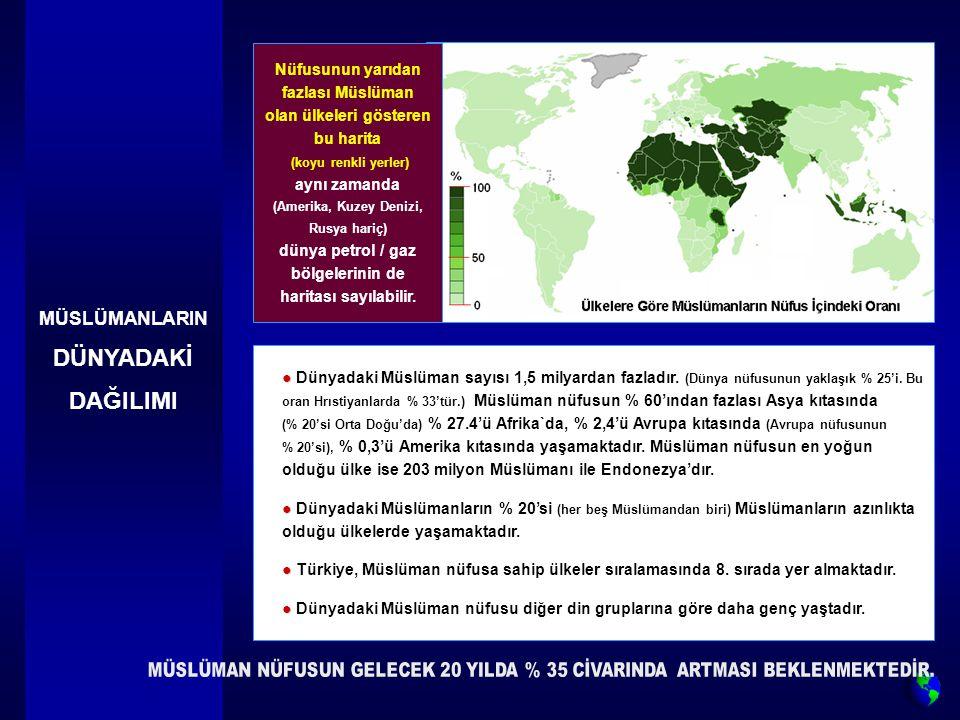 MÜSLÜMANLARIN DÜNYADAKİ DAĞILIMI Nüfusunun yarıdan fazlası Müslüman olan ülkeleri gösteren bu harita (koyu renkli yerler) aynı zamanda (Amerika, Kuzey Denizi, Rusya hariç) dünya petrol / gaz bölgelerinin de haritası sayılabilir.