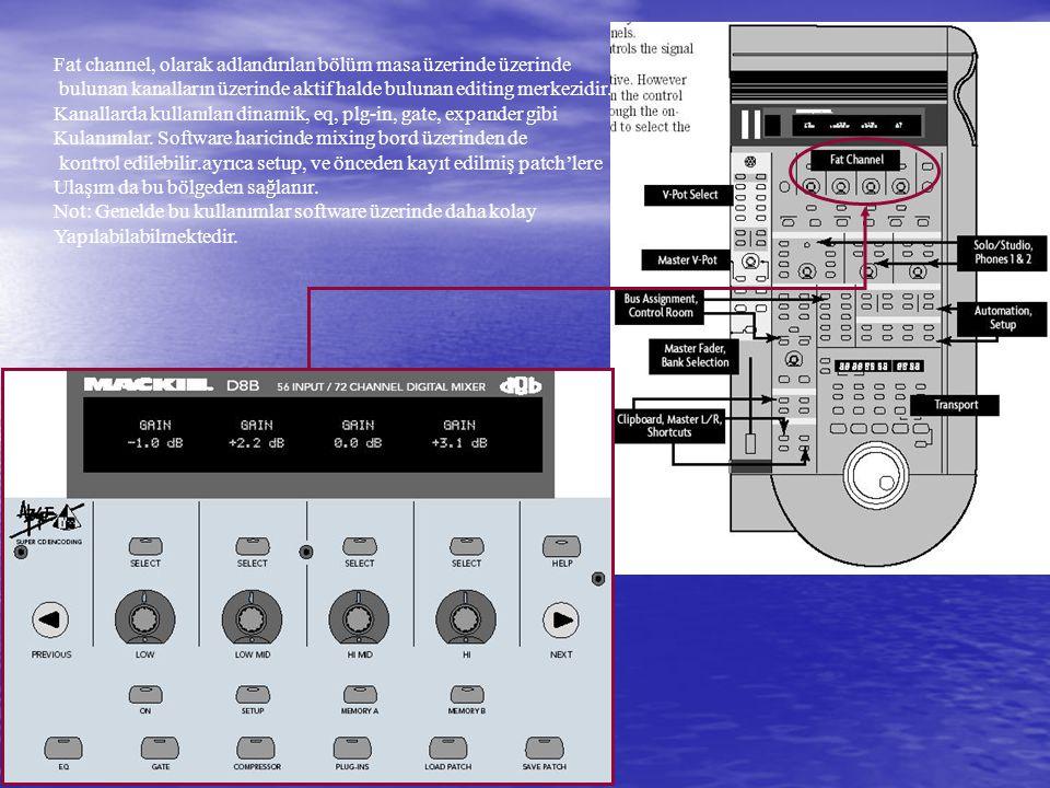 Fat channel, olarak adlandırılan bölüm masa üzerinde üzerinde bulunan kanalların üzerinde aktif halde bulunan editing merkezidir.
