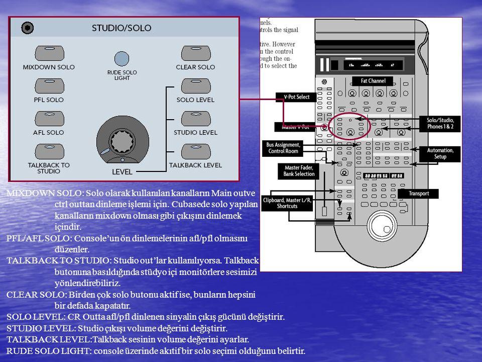 MIXDOWN SOLO: Solo olarak kullanılan kanalların Main outve ctrl outtan dinleme işlemi için.