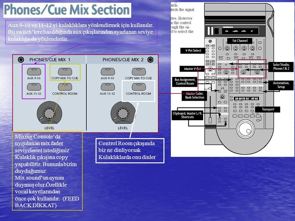 Aux 9-10 ve 11-12 yi kulaklıklara yönlendirmek için kullanılır.
