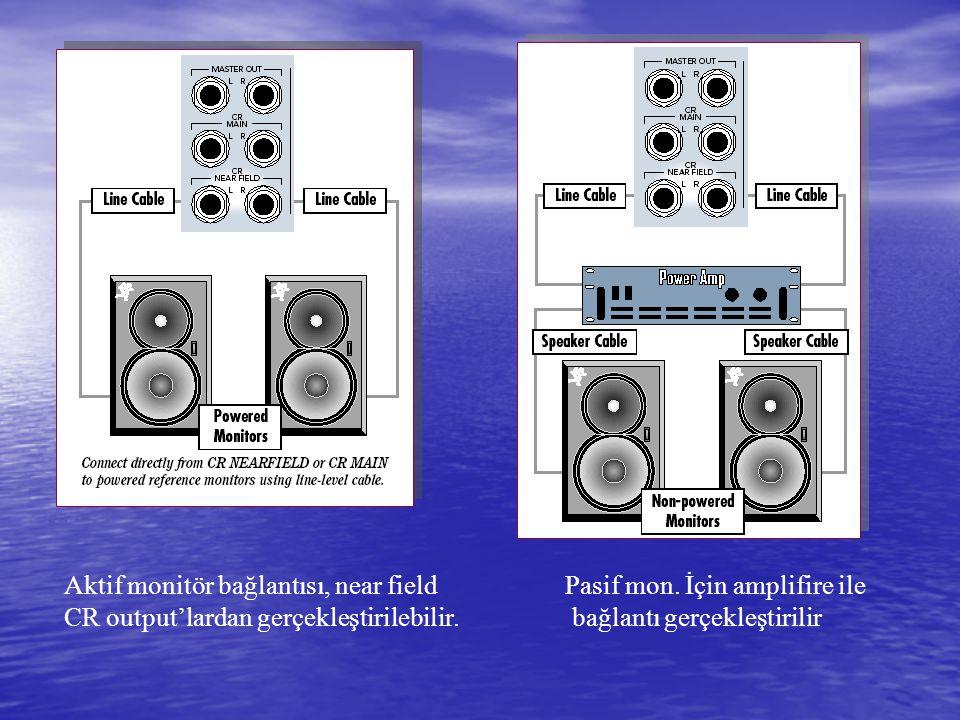Başlangıç için mixing console'un 4 modundan biri olan line ve mikrofon input Bölümü aktif hale getirilmelidir.