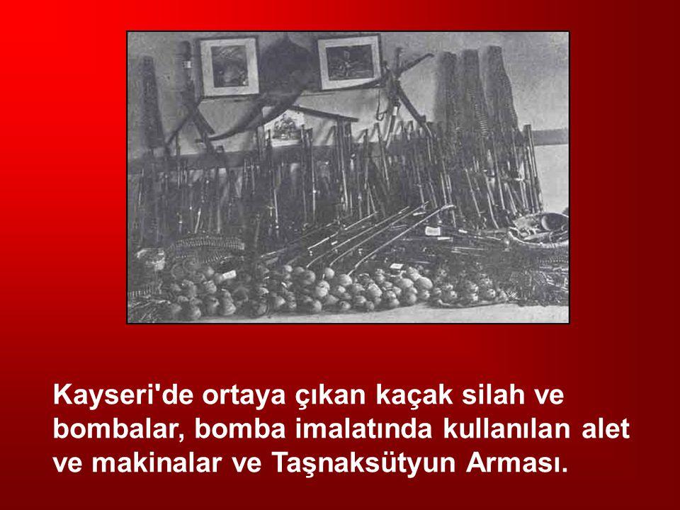 Kayseri'de ortaya çıkan kaçak silah ve bombalar, bomba imalatında kullanılan alet ve makinalar ve Taşnaksütyun Arması.