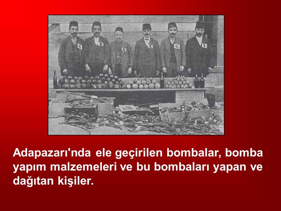 Adapazarı'nda ele geçirilen bombalar, bomba yapım malzemeleri ve bu bombaları yapan ve dağıtan kişiler.