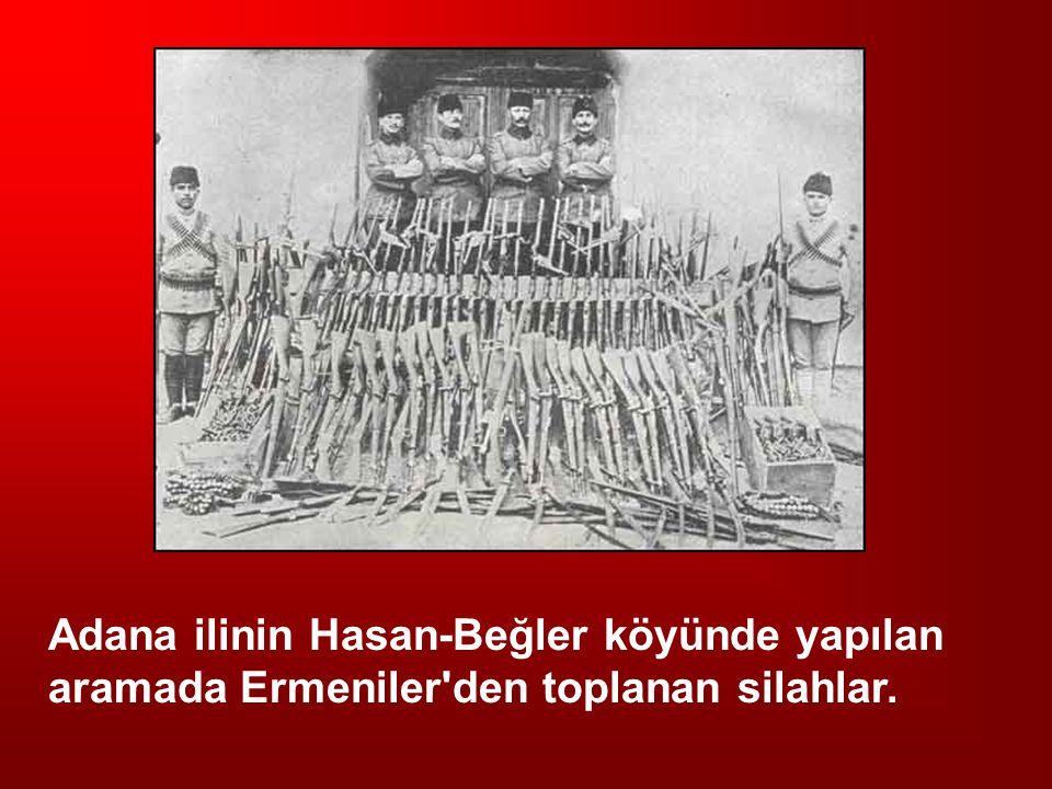 Adana ilinin Hasan-Beğler köyünde yapılan aramada Ermeniler'den toplanan silahlar.