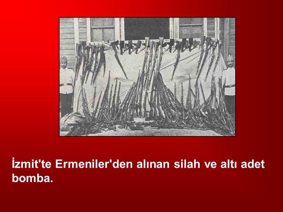 İzmit'te Ermeniler'den alınan silah ve altı adet bomba.