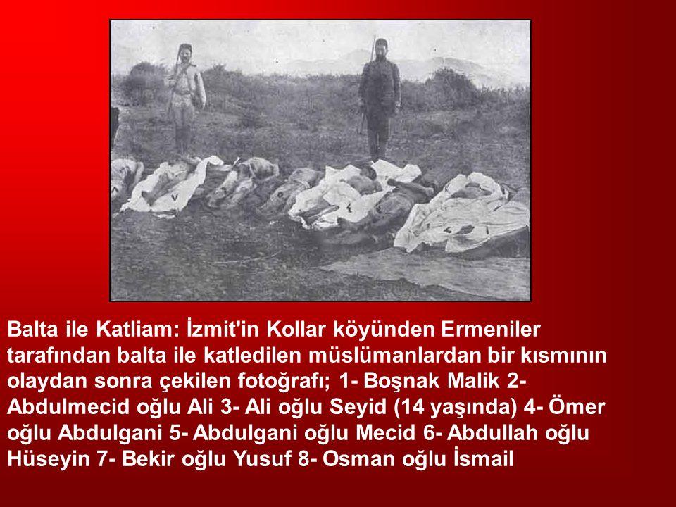 Balta ile Katliam: İzmit'in Kollar köyünden Ermeniler tarafından balta ile katledilen müslümanlardan bir kısmının olaydan sonra çekilen fotoğrafı; 1-