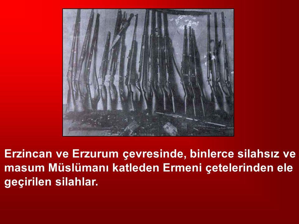 Erzincan ve Erzurum çevresinde, binlerce silahsız ve masum Müslümanı katleden Ermeni çetelerinden ele geçirilen silahlar.