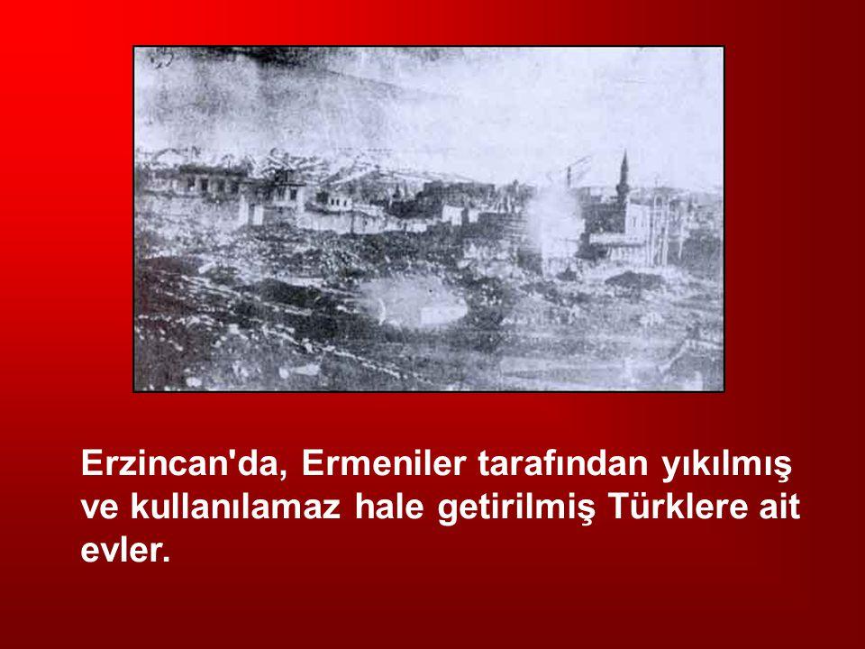 Erzincan'da, Ermeniler tarafından yıkılmış ve kullanılamaz hale getirilmiş Türklere ait evler.