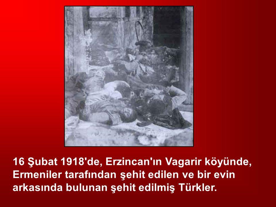 16 Şubat 1918'de, Erzincan'ın Vagarir köyünde, Ermeniler tarafından şehit edilen ve bir evin arkasında bulunan şehit edilmiş Türkler.