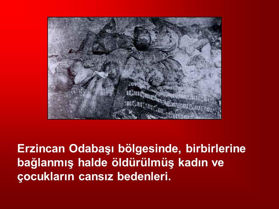 Erzincan Odabaşı bölgesinde, birbirlerine bağlanmış halde öldürülmüş kadın ve çocukların cansız bedenleri.