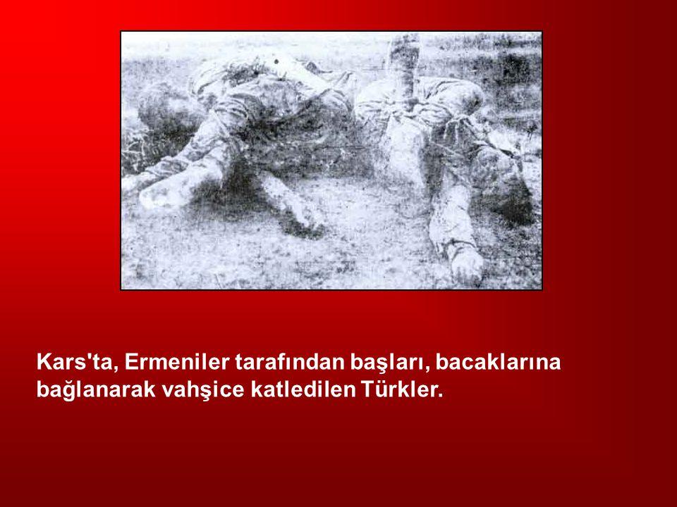 Kars'ta, Ermeniler tarafından başları, bacaklarına bağlanarak vahşice katledilen Türkler.
