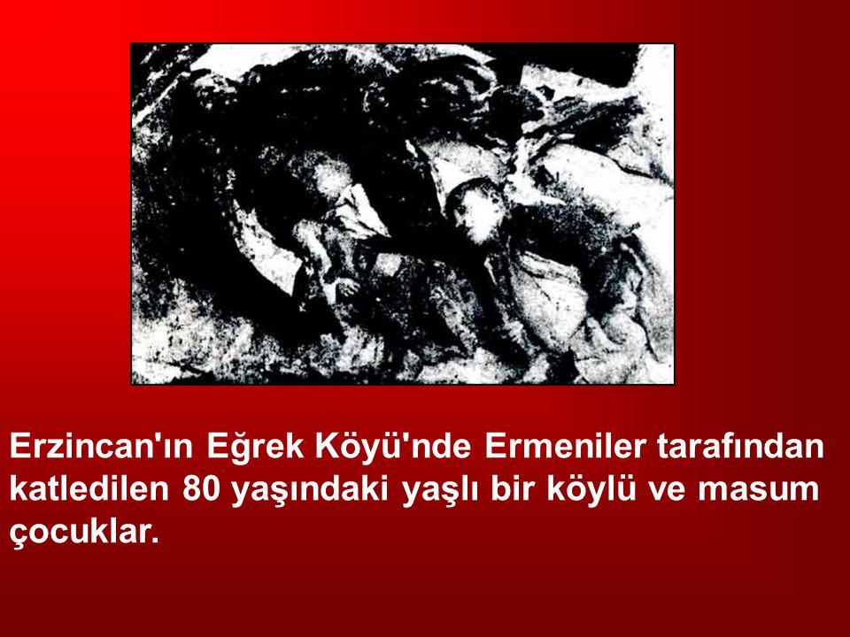 Erzincan'ın Eğrek Köyü'nde Ermeniler tarafından katledilen 80 yaşındaki yaşlı bir köylü ve masum çocuklar.