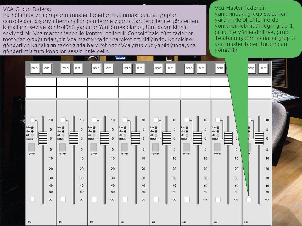 Vca Master Faderları yanlarındaki group switchleri yardımı ile birbirlerine de yönlendirilebilir.Örneğin grup 1, grup 3 e yönlendirilirse, grup 1e atanmış tüm kanallar grup 3 vca master faderi tarafından yönetililir.
