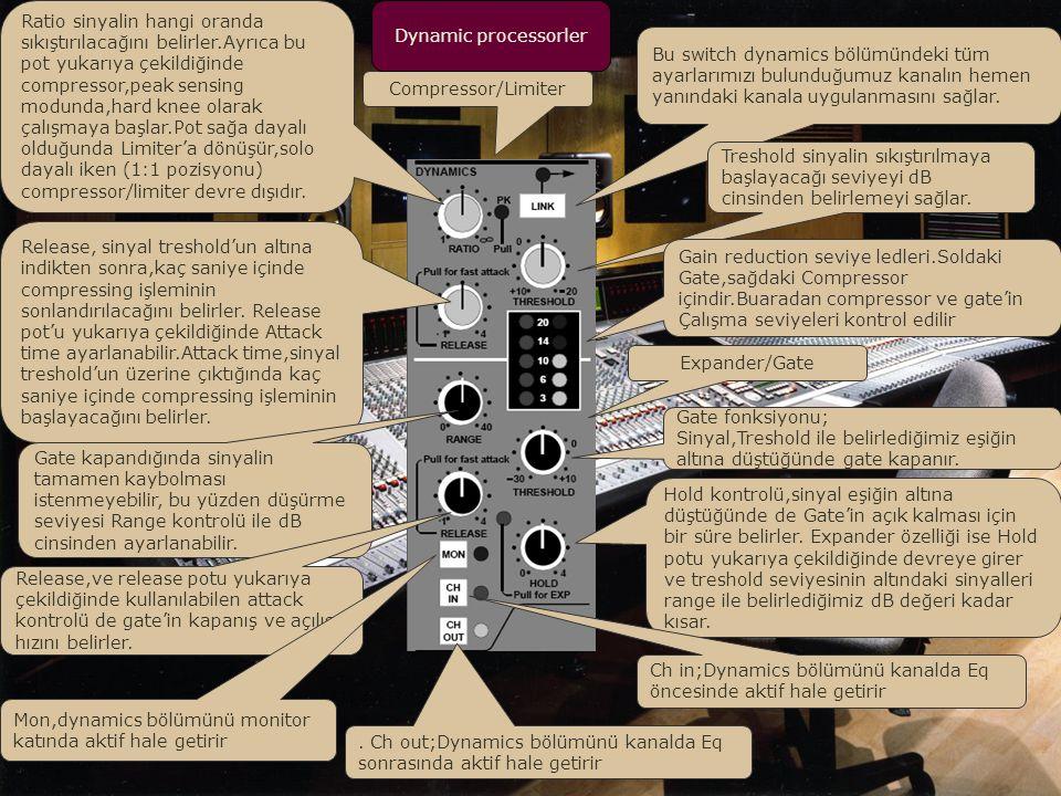 Main sectionda Stereo SubGroupların main level kontrolleri.