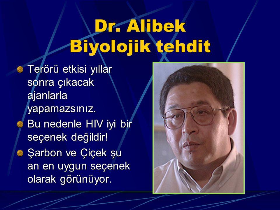 Dr. Alibek Dr. Alibek Biyolojik tehdit Terörü etkisi yıllar sonra çıkacak ajanlarla yapamazsınız. Bu nedenle HIV iyi bir seçenek değildir! Şarbon ve Ç