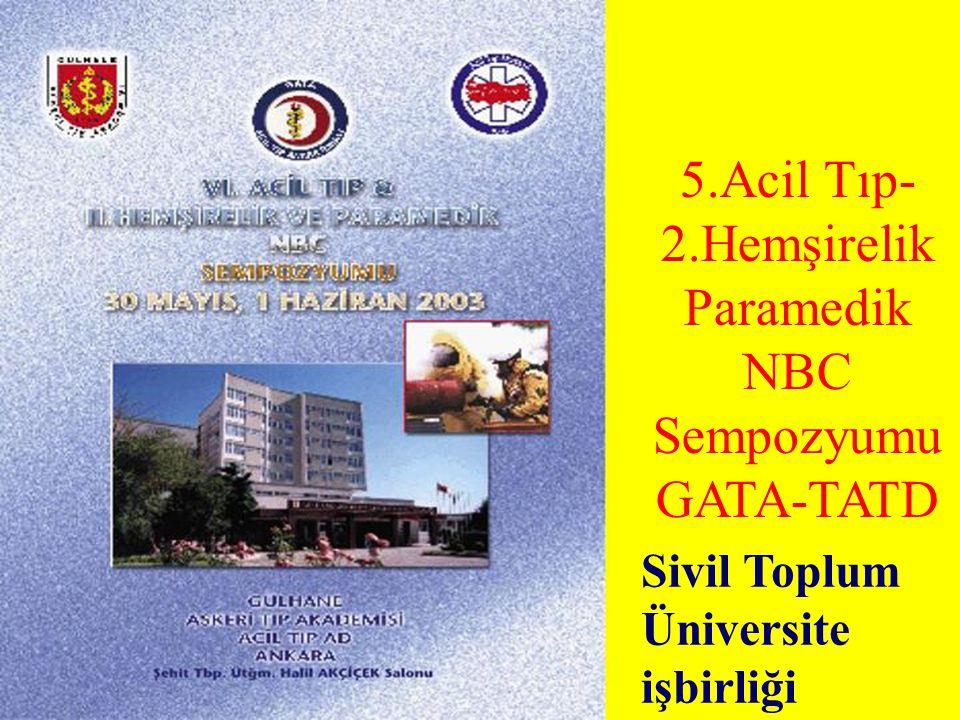 5.Acil Tıp- 2.Hemşirelik Paramedik NBC Sempozyumu GATA-TATD Sivil Toplum Üniversite işbirliği