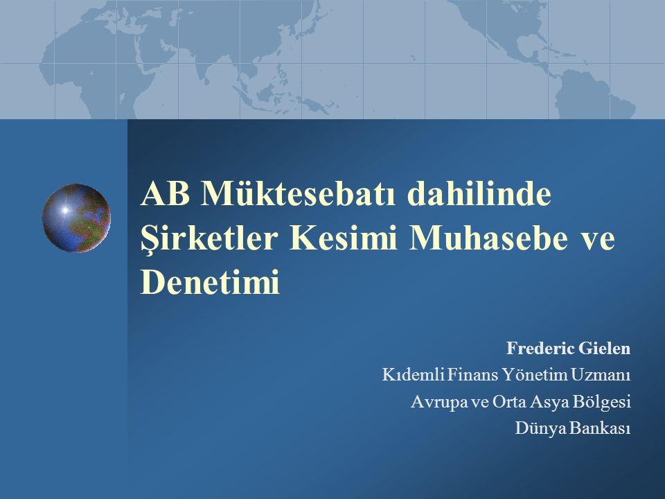 AB Müktesebatı dahilinde Şirketler Kesimi Muhasebe ve Denetimi Frederic Gielen Kıdemli Finans Yönetim Uzmanı Avrupa ve Orta Asya Bölgesi Dünya Bankası