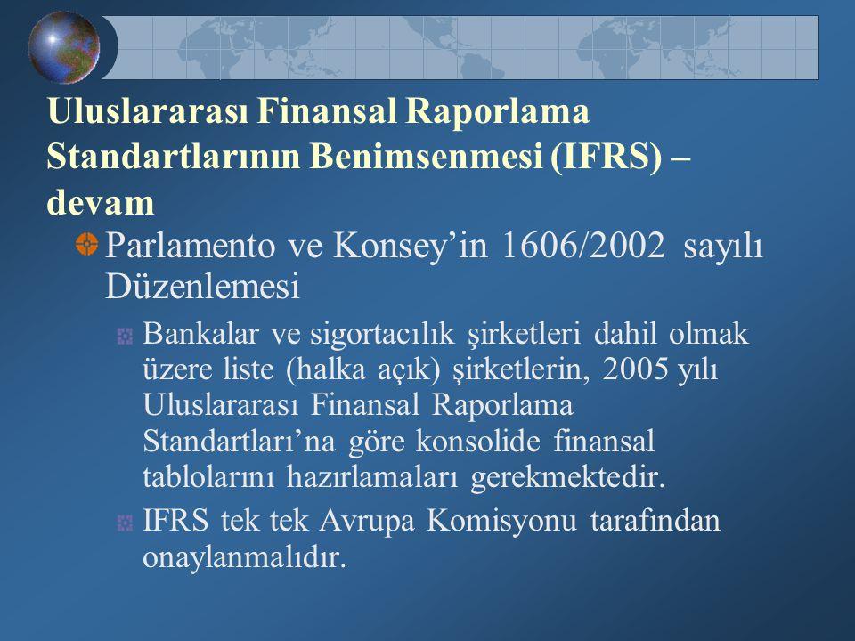Parlamento ve Konsey'in 1606/2002 sayılı Düzenlemesi Bankalar ve sigortacılık şirketleri dahil olmak üzere liste (halka açık) şirketlerin, 2005 yılı U