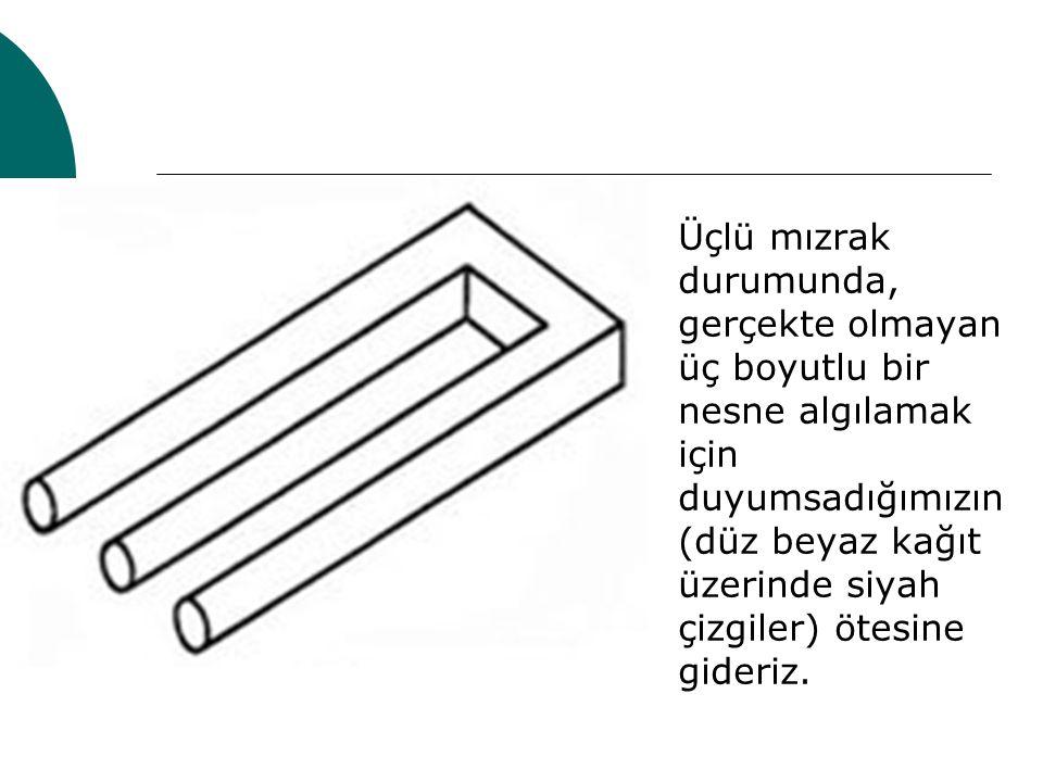 Üçlü mızrak durumunda, gerçekte olmayan üç boyutlu bir nesne algılamak için duyumsadığımızın (düz beyaz kağıt üzerinde siyah çizgiler) ötesine gideriz