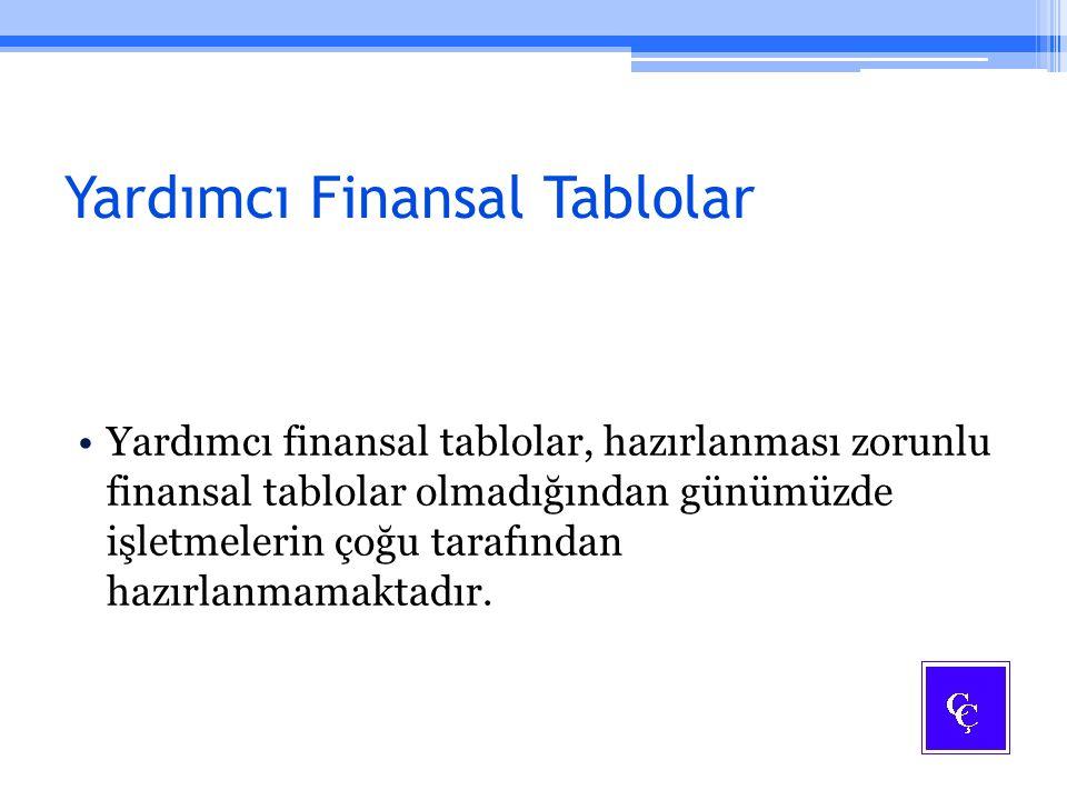 Yardımcı Finansal Tablolar Yardımcı finansal tablolar, hazırlanması zorunlu finansal tablolar olmadığından günümüzde işletmelerin çoğu tarafından hazı