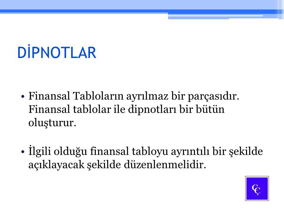 DİPNOTLAR Finansal Tabloların ayrılmaz bir parçasıdır. Finansal tablolar ile dipnotları bir bütün oluşturur. İlgili olduğu finansal tabloyu ayrıntılı