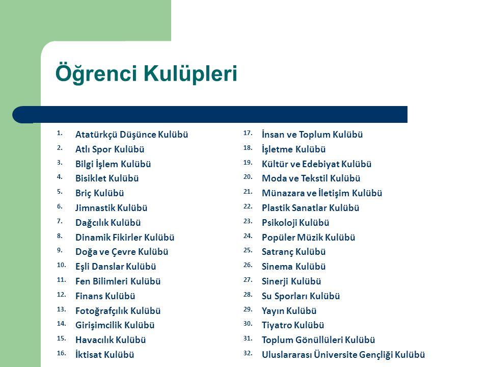 Öğrenci Kulüpleri 1. Atatürkçü Düşünce Kulübü 2. Atlı Spor Kulübü 3.