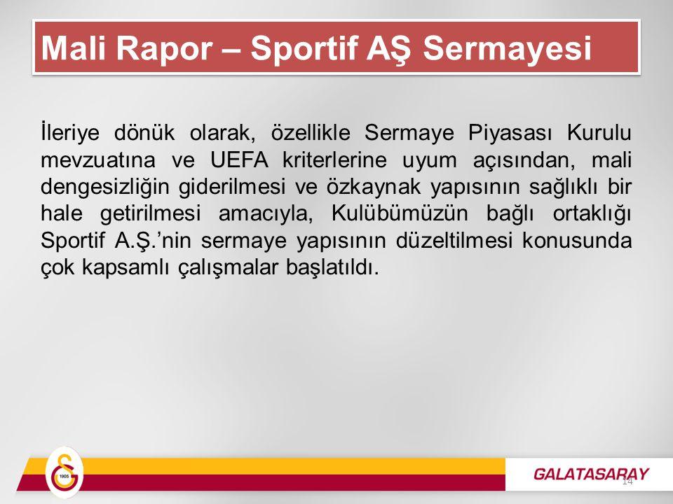 İleriye dönük olarak, özellikle Sermaye Piyasası Kurulu mevzuatına ve UEFA kriterlerine uyum açısından, mali dengesizliğin giderilmesi ve özkaynak yapısının sağlıklı bir hale getirilmesi amacıyla, Kulübümüzün bağlı ortaklığı Sportif A.Ş.'nin sermaye yapısının düzeltilmesi konusunda çok kapsamlı çalışmalar başlatıldı.