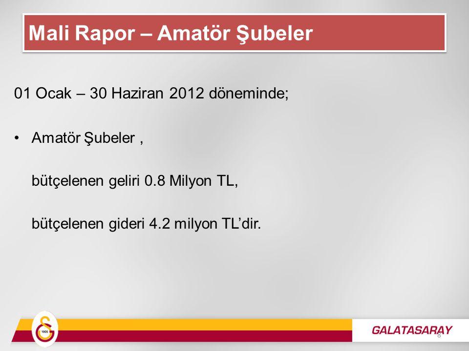 01 Ocak – 30 Haziran 2012 döneminde; Amatör Şubeler, bütçelenen geliri 0.8 Milyon TL, bütçelenen gideri 4.2 milyon TL'dir.