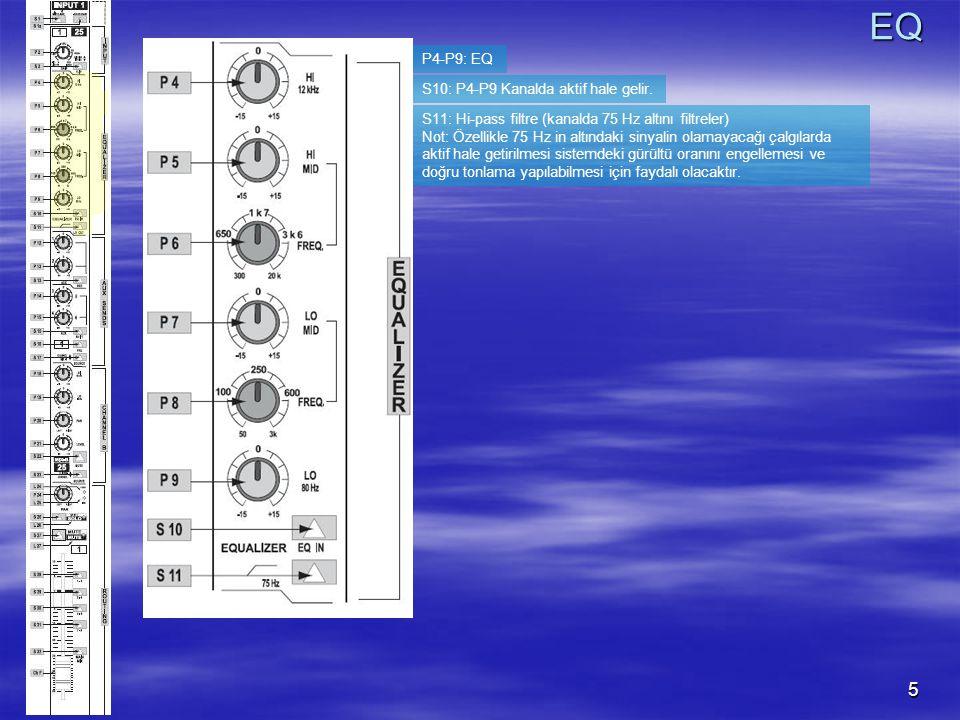 5 P4-P9: EQ S10: P4-P9 Kanalda aktif hale gelir.